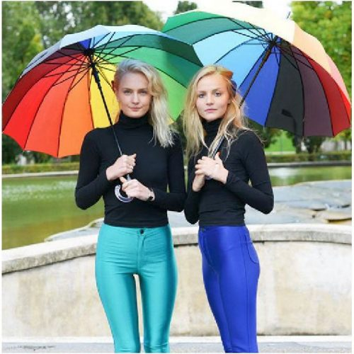 Szivárványos 16 színű automata hosszúnyelű esernyő
